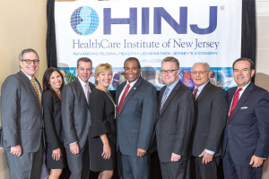 (L. to r.) HINJ Board Chair Jeff Sherman (BD); HINJ Steering Committee Chair Wendy Lazarus (Pfizer); Warren Moore; Amy Mansue; Assemblyman Herb Conaway, Jr., M.D.; Michael Christman, Ph.D.; Barry Komisaruk, Ph.D.; and Dean J. Paranicas